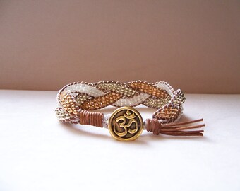 Gold Plated Om Beaded Braided Leather Wrap Cuff Bracelet, Beaded Leather Cuff, Om Bracelet, Om Jewelry, Yoga Jewelry, Yoga Leather Bracelet