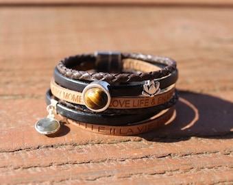 Tiger's eye and Labradorite leather bracelet