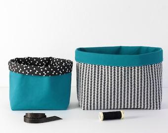 Duo de paniers de rangement en tissu, coloris bleu canard et noir