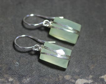 Green Chalcedony Earrings Silver Wire Wrapped Celery Green Gemstone Earrings Sterling Silver