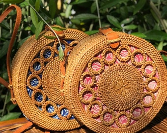 Rattan Bag Round Bag Straw Bag with Clip Closure Natural Handwoven Bali  Ata Grass Shoulder Bag With Ring Pattern for friends Take it both