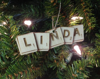 Scrabble Tiles Personalized Christmas Ornament