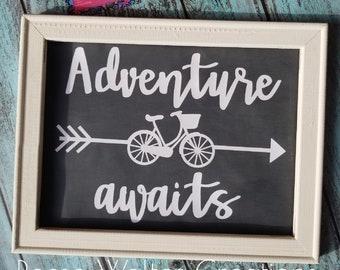 Adventure Awaits|Reverse Canvas|Sign|Beach Cruiser Bike|Framed Print|Gift