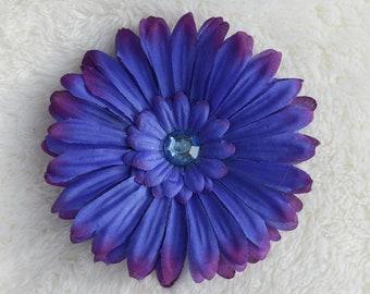 Blue and Purple Flower Hair Clip