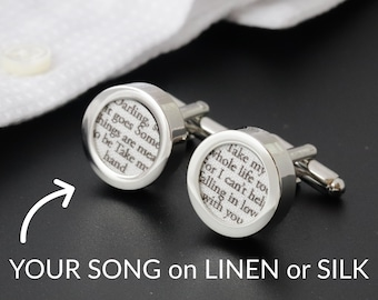 4-Year Anniversary / 4th Anniversary /Linen Anniversary Gift /Custom Cufflinks with your Song on LINEN or SILK