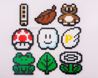 Super Mario Bros. 3 Items Perler Bead Sprites (Choose one!) || Gaming, Accessory, Wearable, Gift, Tanooki, Whistle, Cloud
