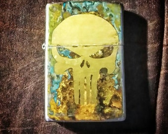 CUSTOM PUNISHER design brass Zippo with Patina