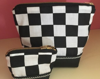 Matching retro zipper pouch set. Vintage black & white checkerboard fabric, Brass zipper, genuine leather zippered bags.