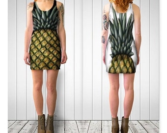 "PINEAPPLE Bodycon Dress Fruit Food Art Tropical Women Teen Clothes Clothing Wearable Art Reversible XS S M L XL 32"" 34"" 37"" 40"" 42"" bust"