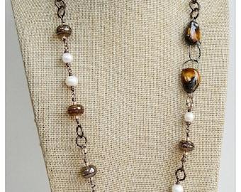 Burnt caramel - artisan necklace - lampwork beaded necklace - pearl necklace -copper chain necklace