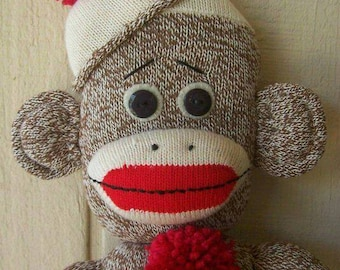 Primitive Folk Art Sock Monkey Doll Male Boy Vintage-Style Soft Sculpture Collectible ofg hafair faap cccoe