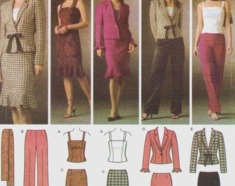 Womens Camisole Top, Pants, Skirt, Unlined Jacket & Scarf OOP Simplicity Sewing Pattern 4885 Size 6 8 10 12 Bust 30 1/2 to 34 UnCut