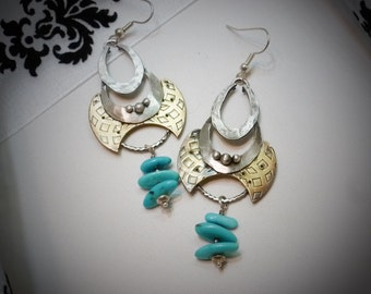 Artisan Silver and Brass with Turquoise Dangle Earrings