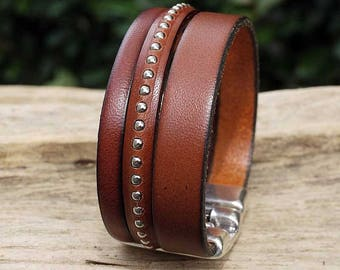 Handmade brown leather strap and silver beads - 3 leather straps - leather cuff women bracelet