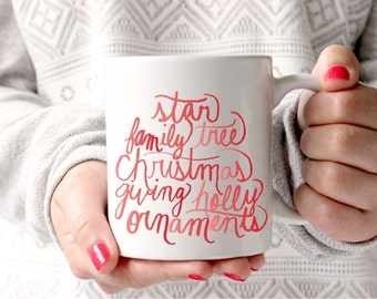 Christmas Mug Hand Lettered Christmas Gift Holiday Mug With Sayings Gift for Her