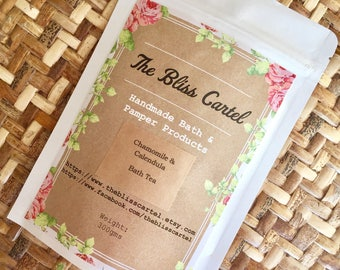calendula chamomile Bath salts, Epsom salts, bath tea, bath soak, herbal bath, herb bath, herbal beauty, vegan bath, pamper gift, bath tea