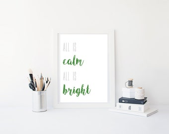Christmas Print, Digital Print, Instant Download, All is Calm All is Bright, Christmas, Christmas Art, Printable, Wall Art, Christmas Decor