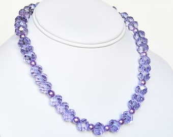 Lavender Necklace Handmade Beaded Jewelry Beaded Necklace with Swarovski Pearls
