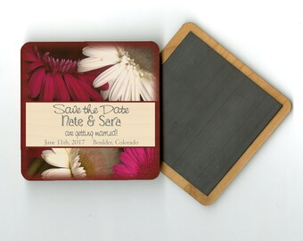 Gerber Daisies Save The Date Wood Magnet, Pink White, Gerbera, Daisy, Coaster, Invitation, Wedding, Magnets, wooden
