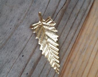 Vintage gold leaf brooch Gold leaf pin leaf jewelry gold tone vintage pin vintage brooch bridal bouquet 1/2 price DE246