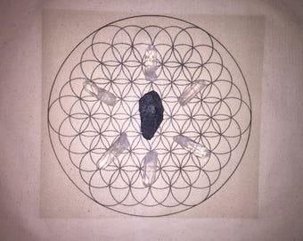 Powerful Black Tourmaline (Schorl) Protection Grounding Healing Crystal Grid - Flower of Life - Sacred Geometry