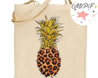 Tote bag/leopard pineapple beach bag