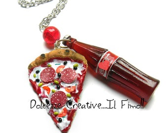 Pizza Margherita necklace with salami and drink - miniature polymer clay - Kawaii necklaces - gift idea