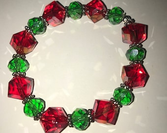 Handmade Christmas holiday bracelet red and green