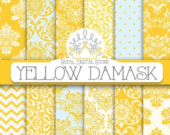 "Damask digital paper: ""YELLOW DAMASK"" with damask background, damask scrapbook paper, damask pattern, digital damask for scrapbooking, cards"