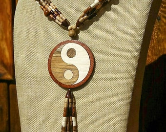 Ying-Yang: Wooden Necklace, Wood Bead Choker, Wood Necklace, Bib Necklace, Anniversary Gift for Wife