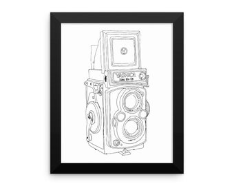 Framed in Wood Vintage Yashica Camera Original Illustration Framed Wall Art Photographers Photography Hand Drawn Camera Print