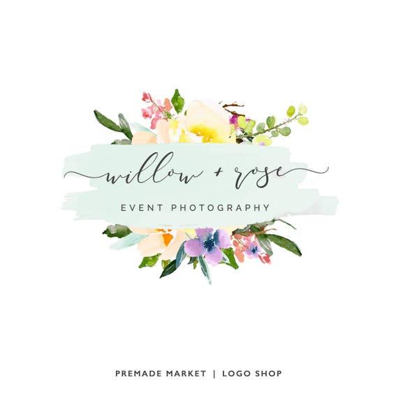 Premade Logo Watercolor Logo Floral Logo Design Business