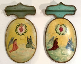 French Tole Angel Panels with Crown of Thorns, Pair, Ca: 1880s.