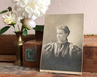 Antique Photo Lady Woman Victorian 1898 Vintage Sepia Black and White Distressed Print Family Heirloom Ephemera Decor
