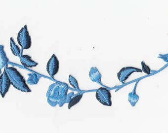 Long Stem Blue Rose Iron-On Applique
