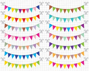 """Bunting Banners Clipart: """"BUNTING CLIPART"""" Party Bunting, Banner Clipart, Banner Flag Clipart, Party Banners, Holiday Bunting, SALE!"""