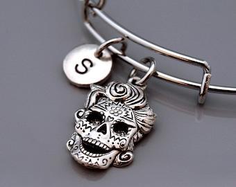 Skull with hair, Sugar skull bangle, Sugar skull bracelet, Steampunk, steam punk, Calavera bracelet, Calavera bangle, Sugar skull jewelry