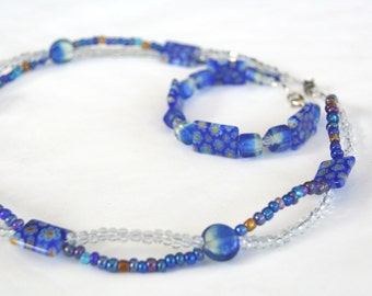 Necklace Bracelet Set, Cobalt Millefiori Glass Beads, Blue Beaded Jewelry Set, Necklace and Matching Bracelet, Mother's Day Gift, Bridal