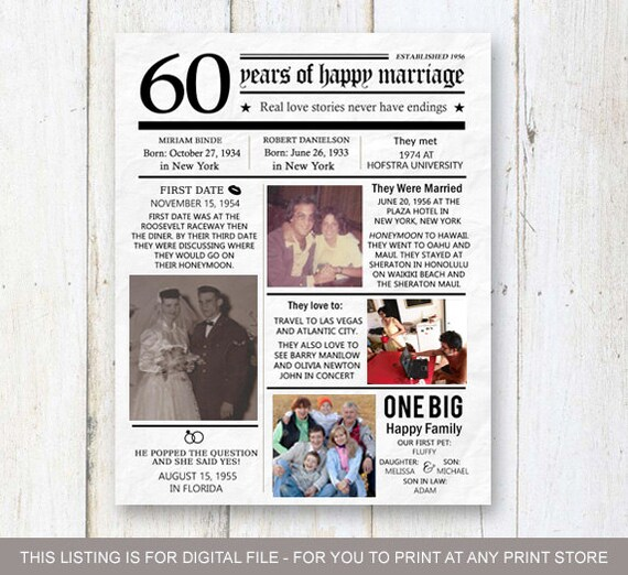 60th Wedding Anniversary Gifts For Friends: 60th Anniversary Gift For Wife Husband Or Best Friends 60th