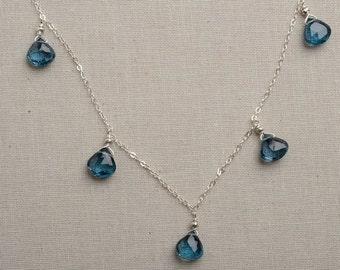 Blue Topaz Necklace, December Birthstone, London Blue Topaz,  Healing Gemstone Jewelry, Gemstone Silver Chain Necklace