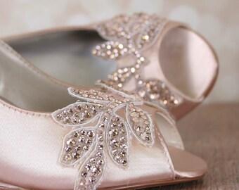 Blush Wedding Shoes, Wedge Wedding Shoes, Blush Bridal Accessories, Crystal Wedding Shoes, Bridal Wedges, Custom Wedding Shoes, Blush Wedges