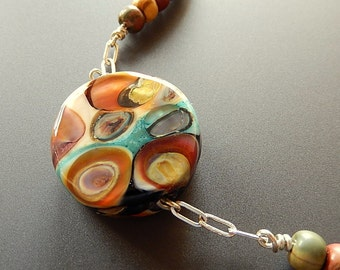 Beautiful Artisan Handmade Reversible Glass, Cherry Creek Jasper and Sterling Silver Necklace OOAK
