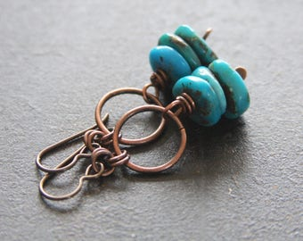 Rustic Turquoise and Copper Earrings