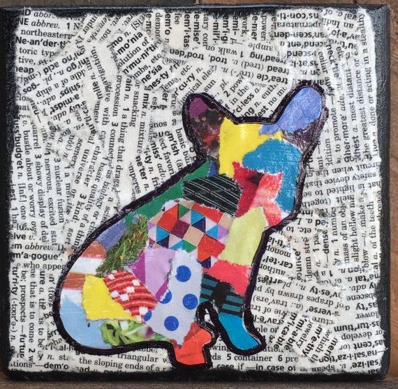Bulldog francés mixta mascotas silueta rasgado collage