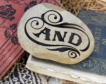 """Vintage Sign Style """"AND"""" Engraved Paperweight Stone"""