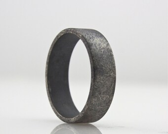Black Diamond Ring Oxidized Simple Wedding Band for Men or