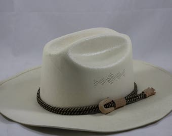 Vintage SUPER LONA 10X White Straw Western Cowboy Hat Size 7 1/4 Mexico 58