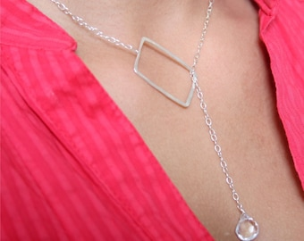 Clear Crystal Briolette Stone Sterling Silver Rectangle Lariat