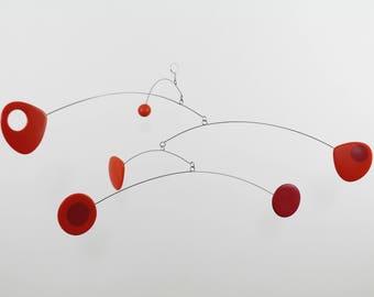 Hanging Mobile, Mid Century, Retro Mobile, Art Mobile, Modern Home, Orange Mobile, Mobile Art, Sculpture, Crib Mobile, Calder Style, Mobile