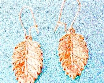 COPPER LEAF EARRINGS, copper leaf jewelry, leaf earrings,leaf jewelry, copper kidney earwire, nature earrings, nature jewelry, copper - 1714